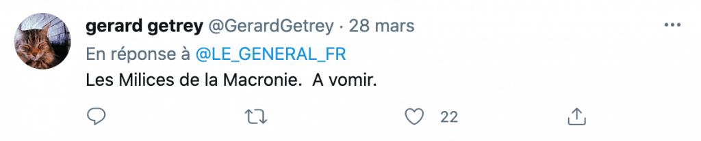 Tweet sur la verbalisation d'un porteur de masque jaune sur les Champs Elysées