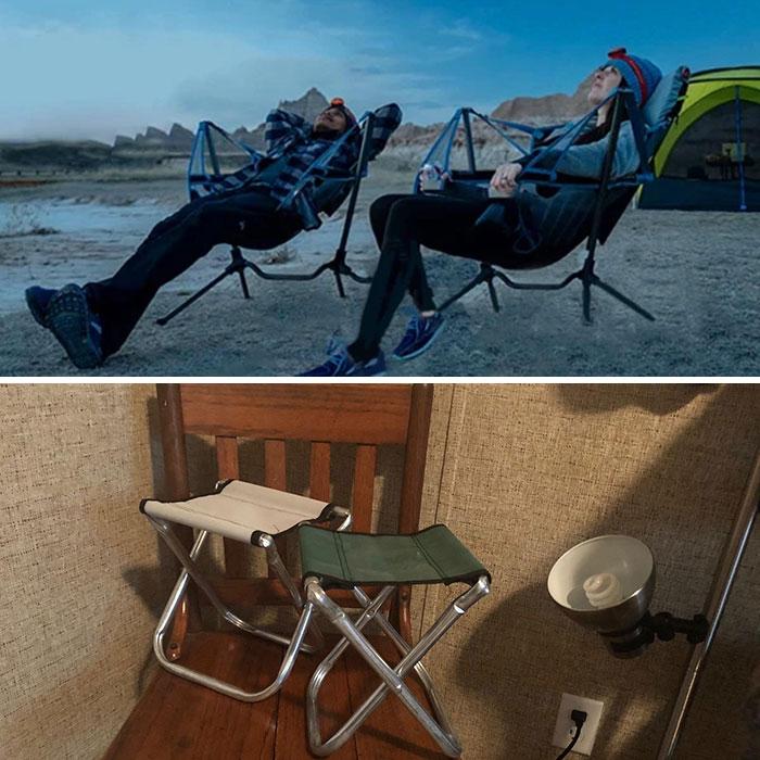 Un achat trompeur sur internet : des chaises de camping trop petites