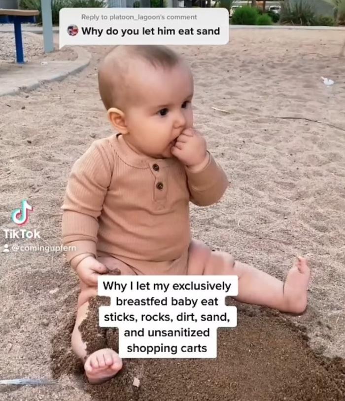 Le bébé d'Alice Bender mange du sable