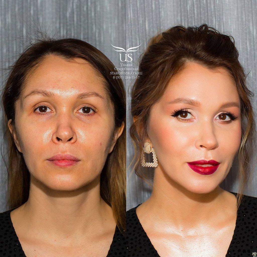 une femme avant et après le maquillage professionnel