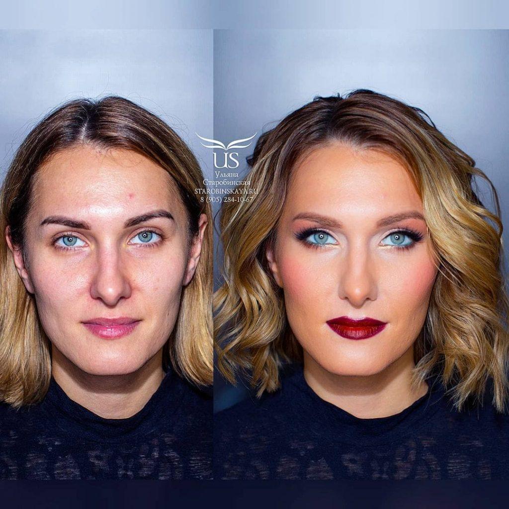 Une femme rendue plus jolie grâce au maquillage