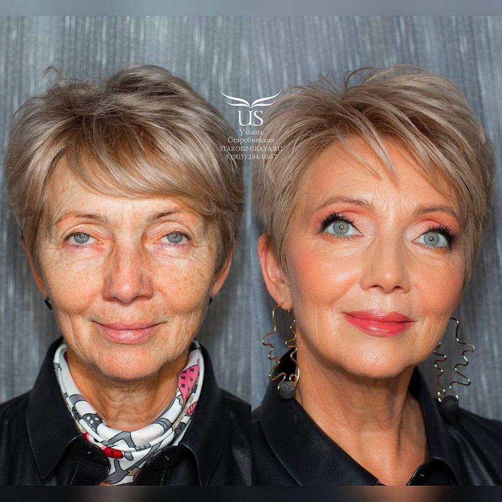Une femme embellie par un maquillage professionnel