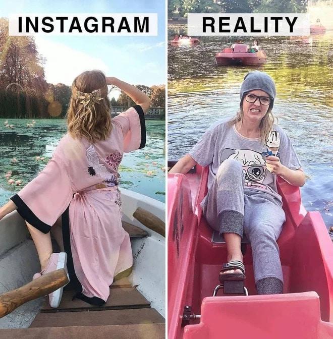 Géraldine West compare une photo sur Instagram à la réalité