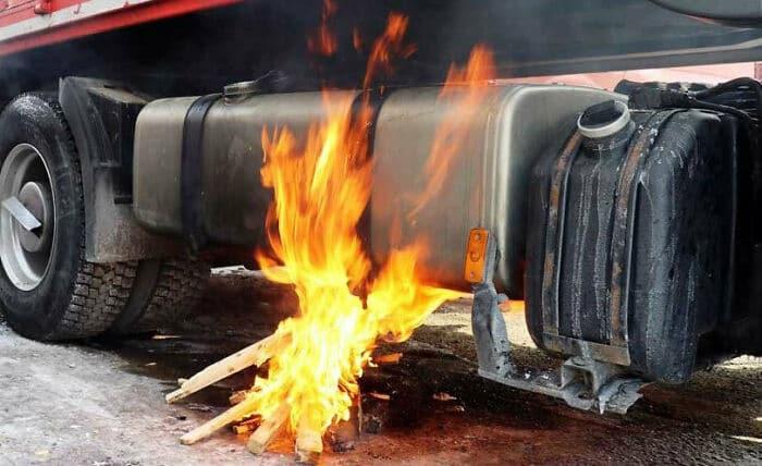 un feu pour réchauffer du diesel gélifié