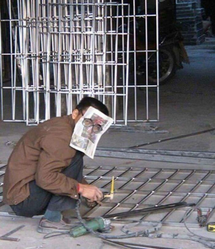 un ouvrier mal protégé