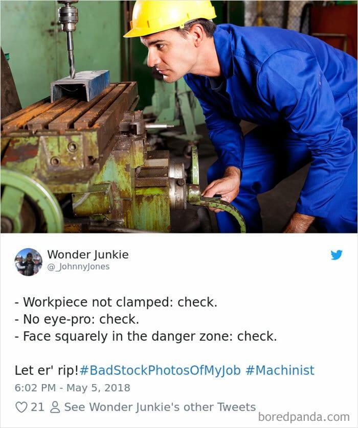 un travailleur sans protection