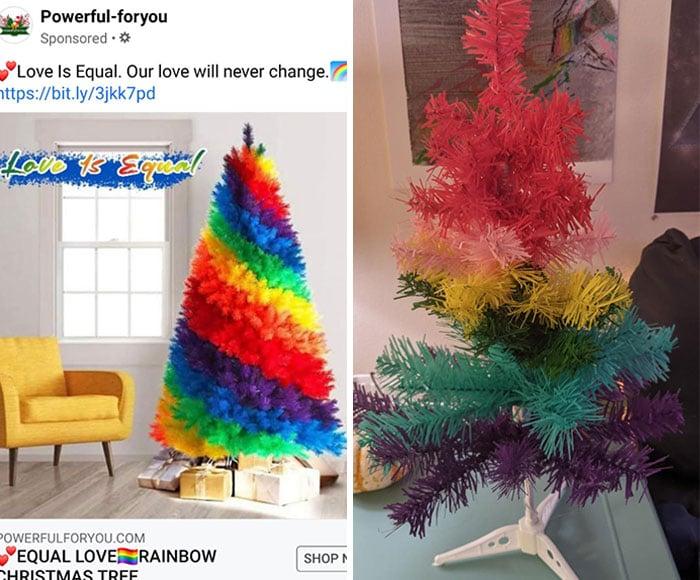 Un achat trompeur sur internet : un sapin de Noël
