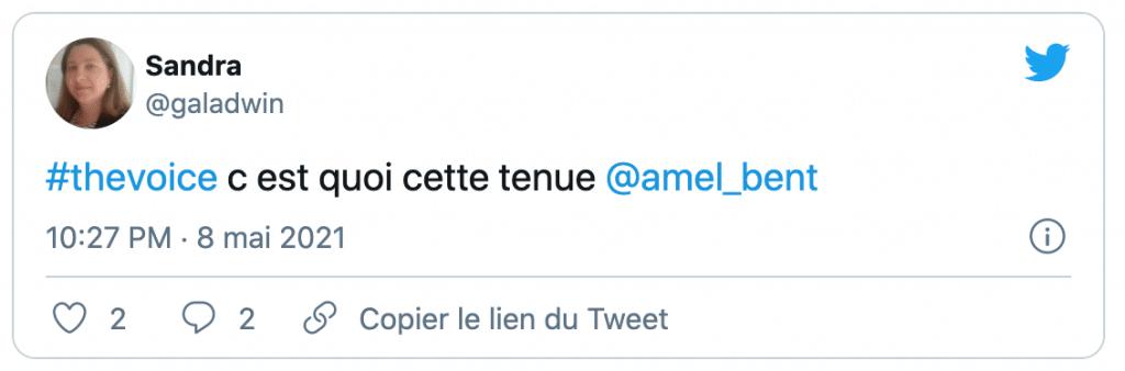 Tweet sur le look d'amel bent dans the voice