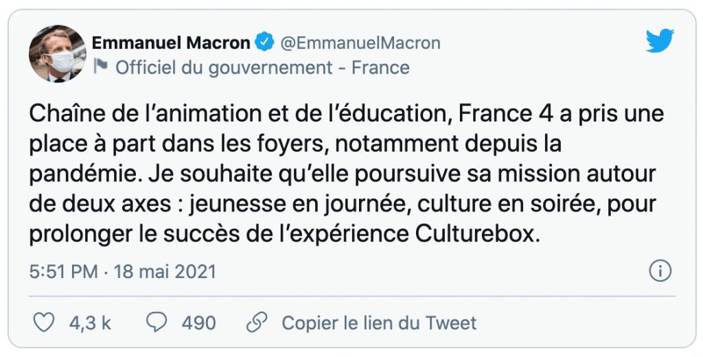 tweet d'emmanuel macron qui annonce le maintien de la chaîne france 4