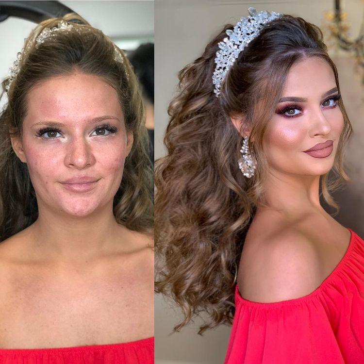 Une mariée avant et après maquillage