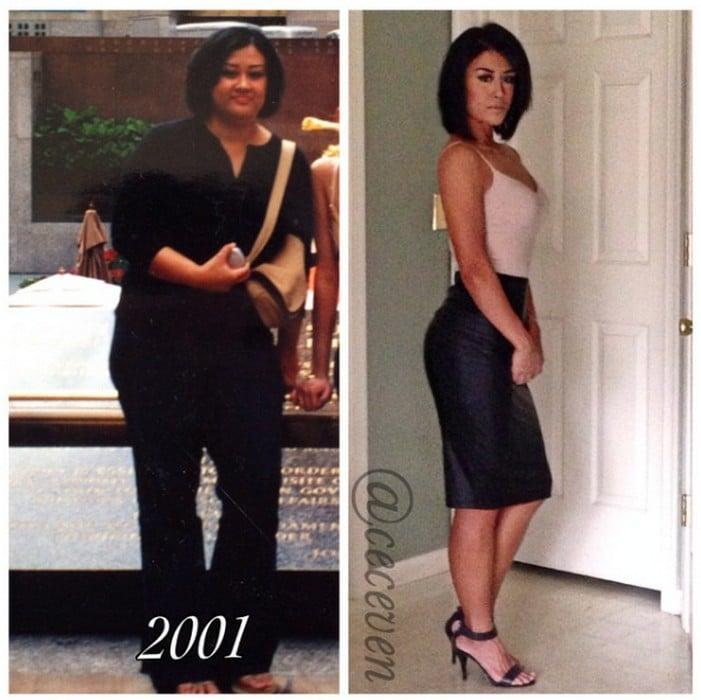 Une femme perd du poids grâce au fitness