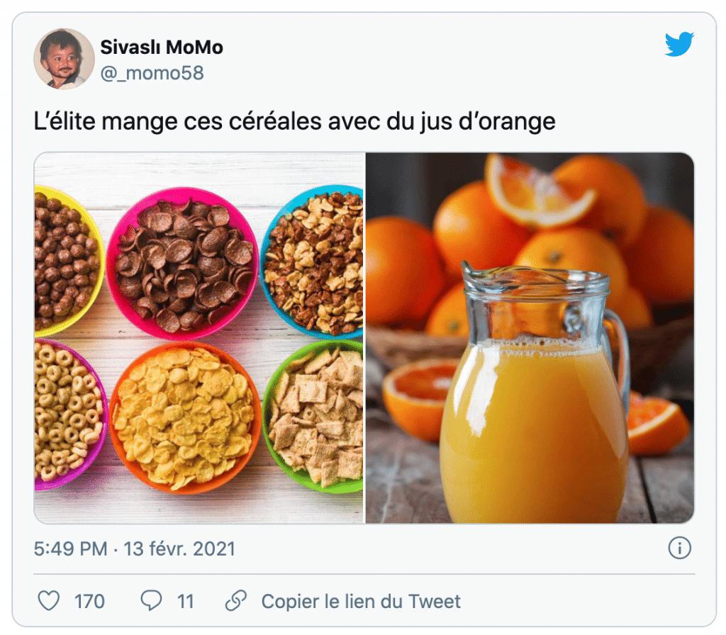 des céréales dans du jus d'orange