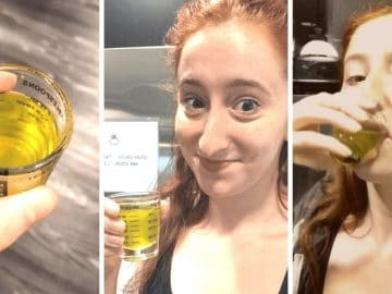 Ileana Paules-Bronet boit du jus de pickles