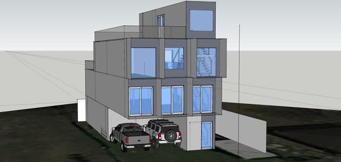 le plan 3D de la maison conteneur