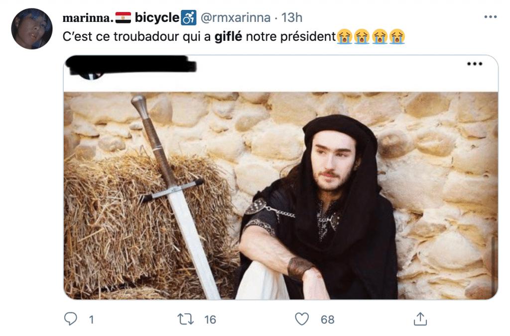 Tweet de réaction à Macron giflé