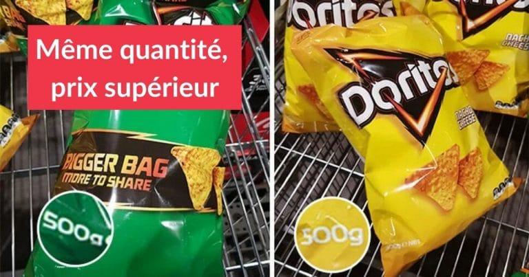 la shrinkflation pratiquée par Doritos