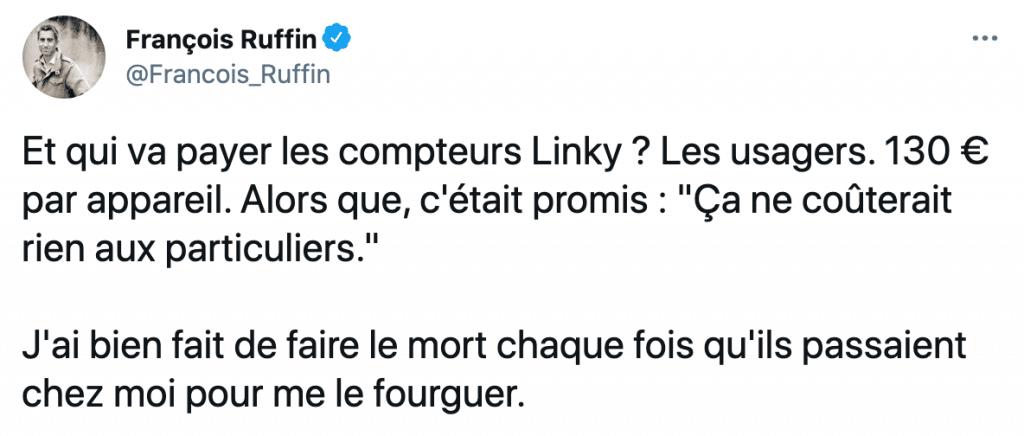 tweet de françois ruffin sur Linky