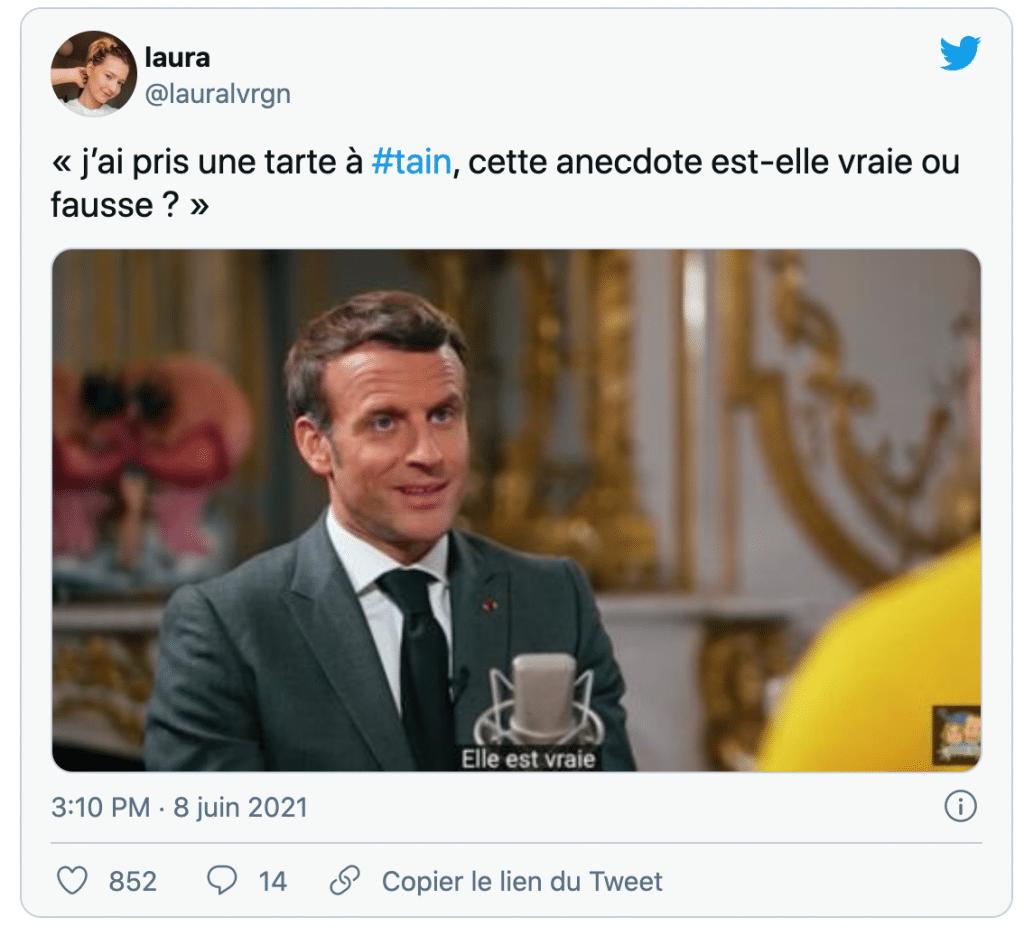 tweet sur le président de la République giflé