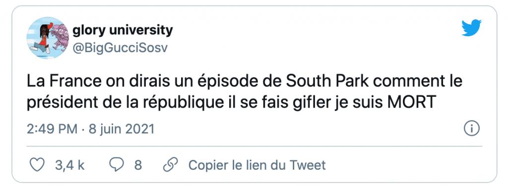 Tweet sur la gifle d'Emmanuel Macron