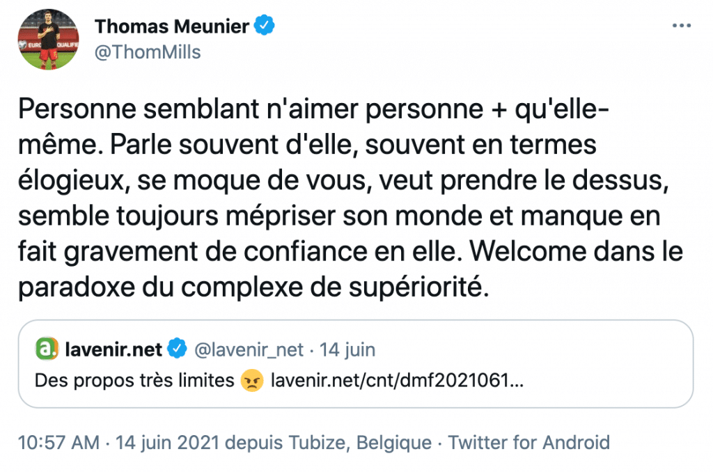 Le Belge Thomas Meunier à L'Equipe du Soir