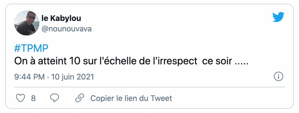 tweet sur Francis Lalanne dans TPMP