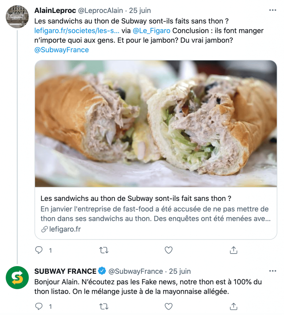 Sandwich au thon de Subway