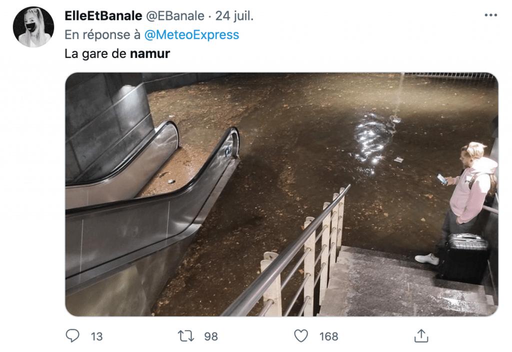 la gare inondée de namur