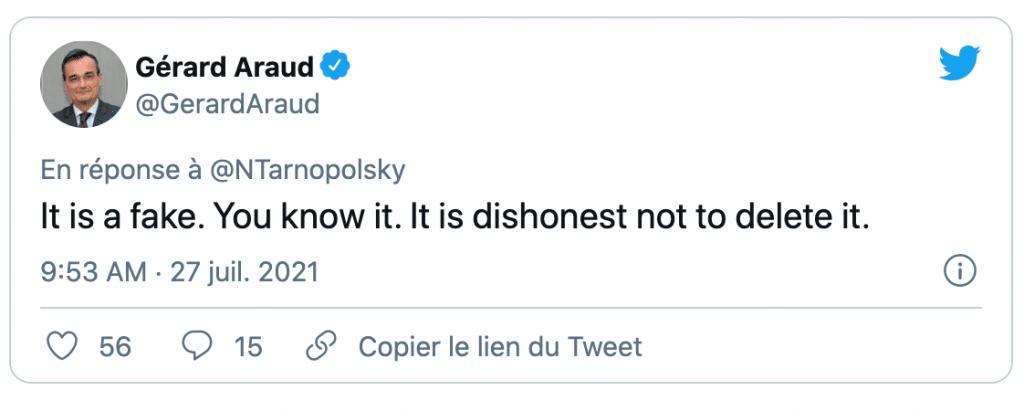 un tweet de Gérard Araud