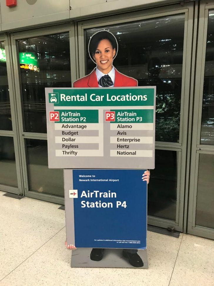 un signe à l'aéroport