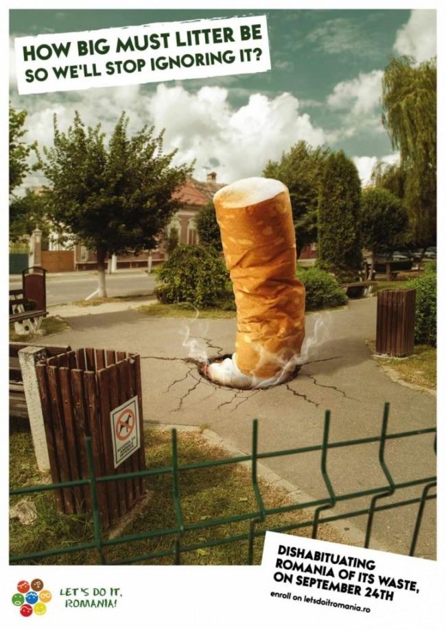 une pub contre les déchets en ville