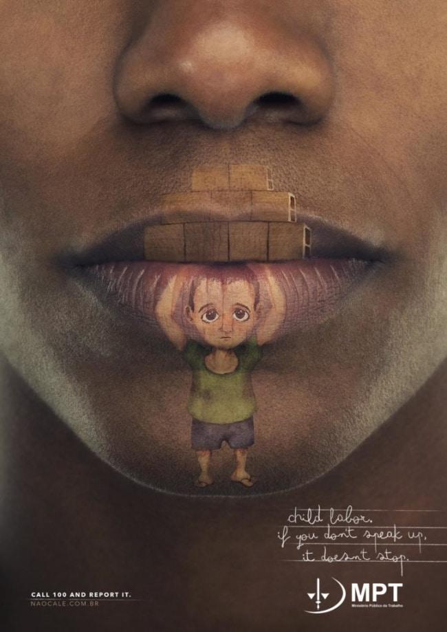 une publicité contre le travail des enfants