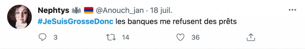 un tweet d'une grosse femme