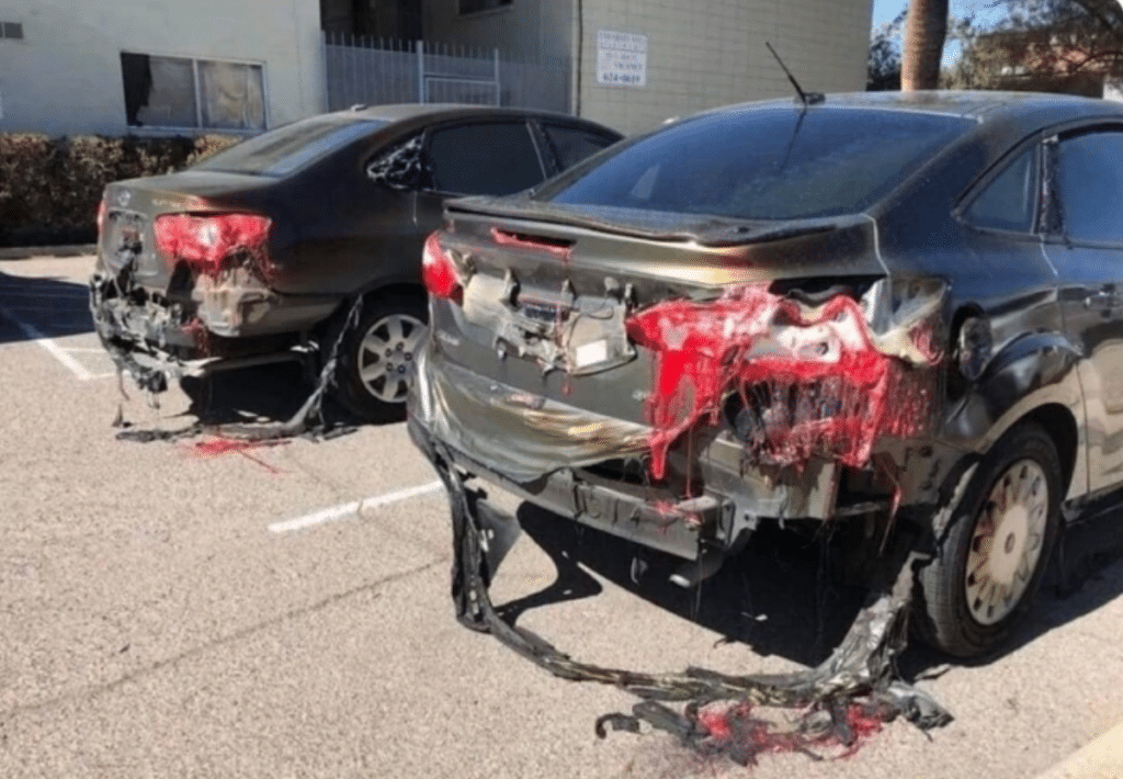 des voitures fondues