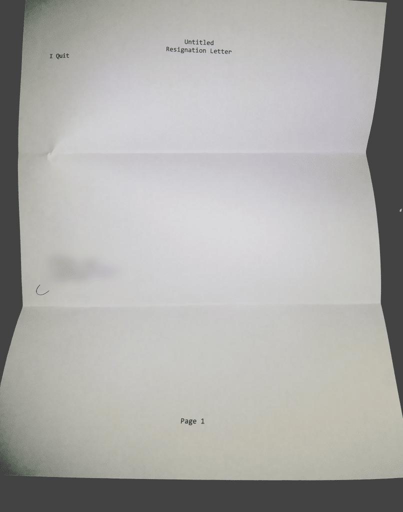 courte lettre de démission