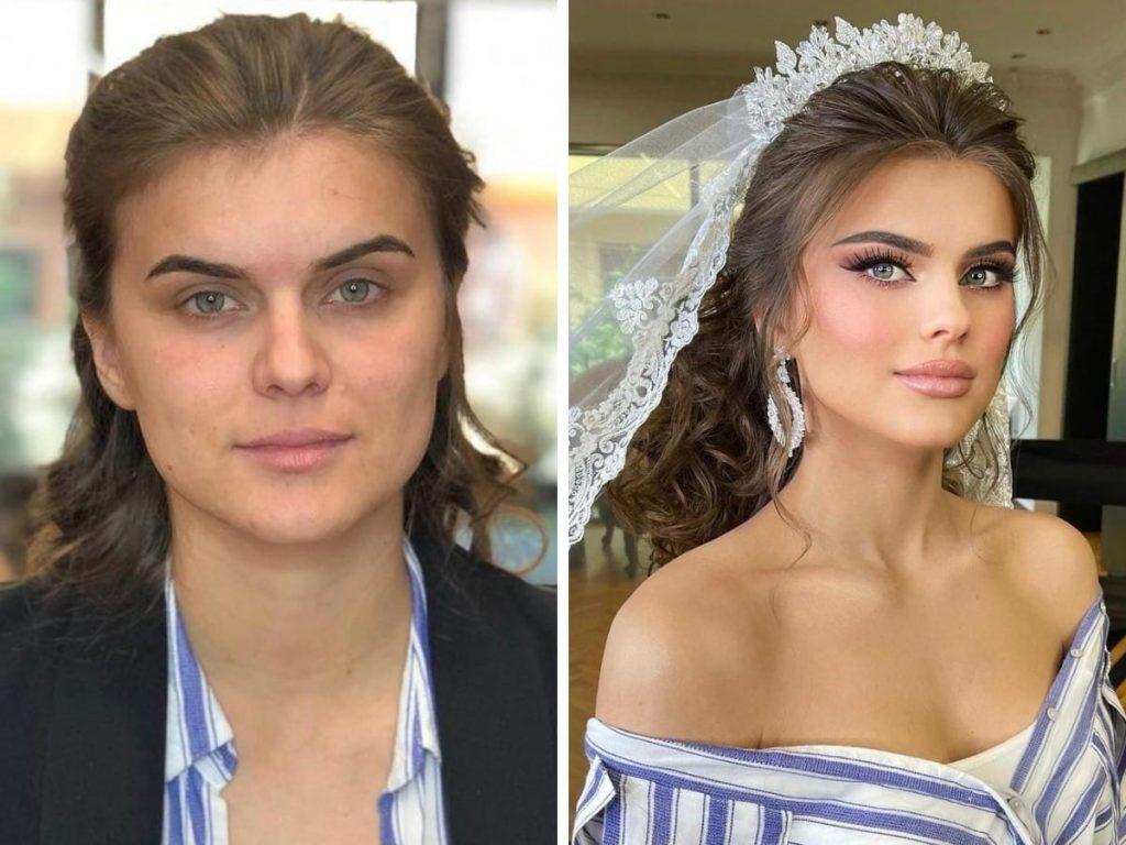 mariées avant/après maquillage doux