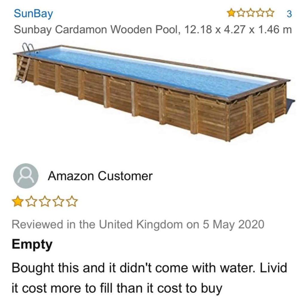 Commentaires pour la commande d'une piscine