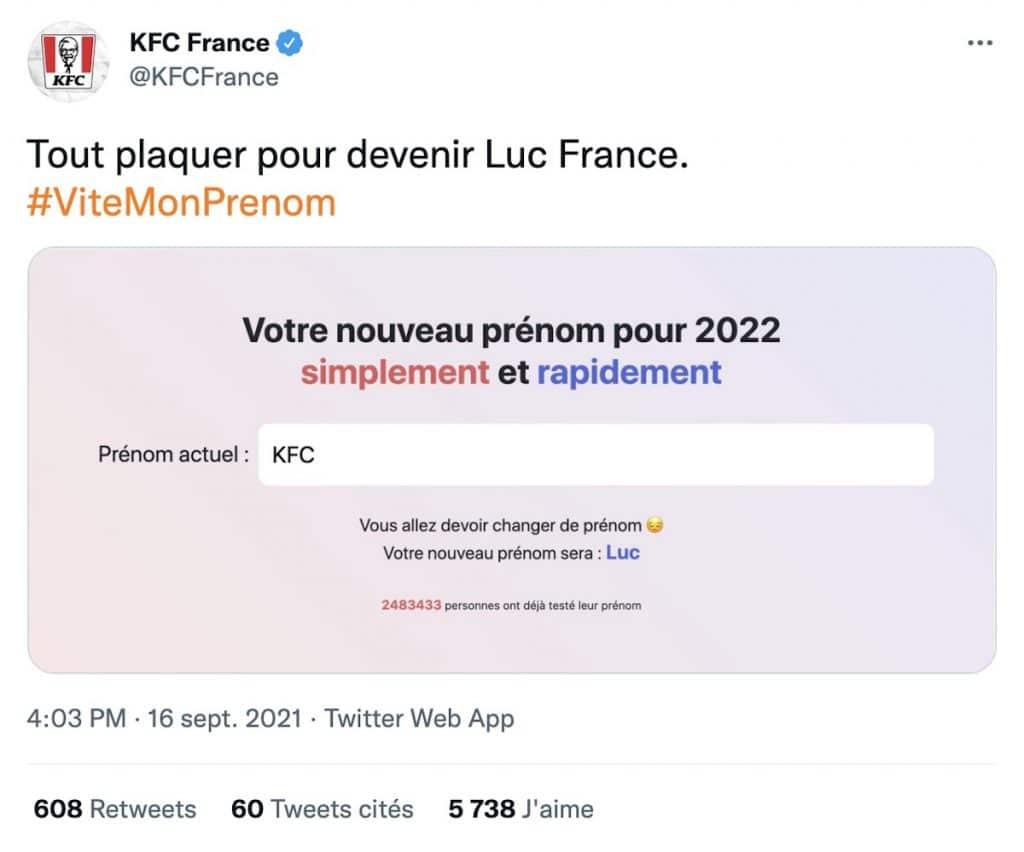 KFC France ViteMonPrenom