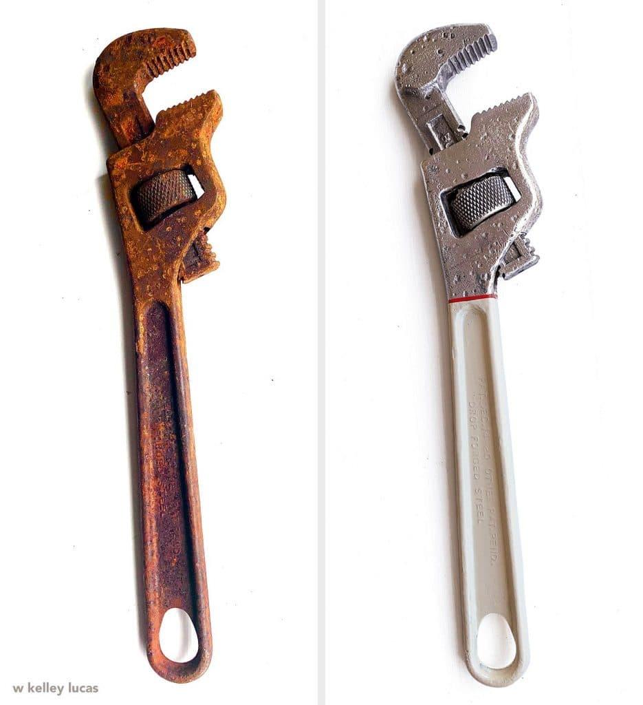 Une vieille clé à molette