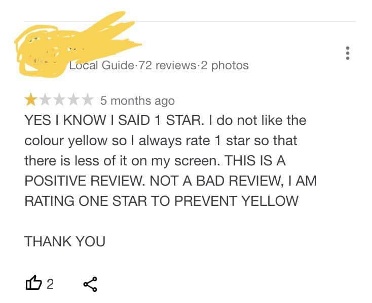 Commentaires sur la couleur jaune