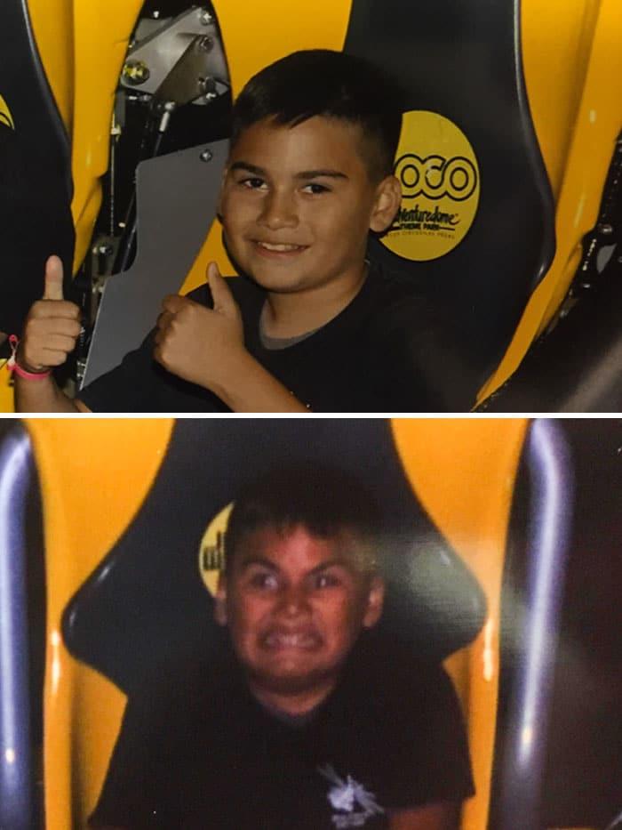 Avant et pendant un tour de montagnes russes