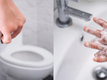 Se laver les mains après avoir été aux WC